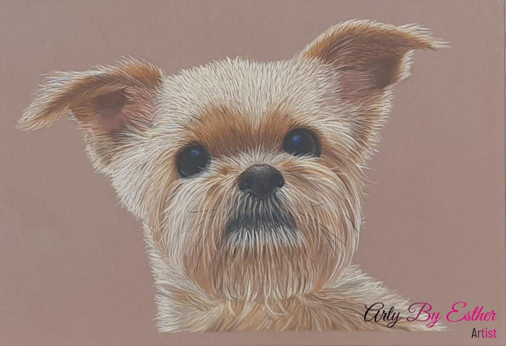 Angel pastelpainting dog