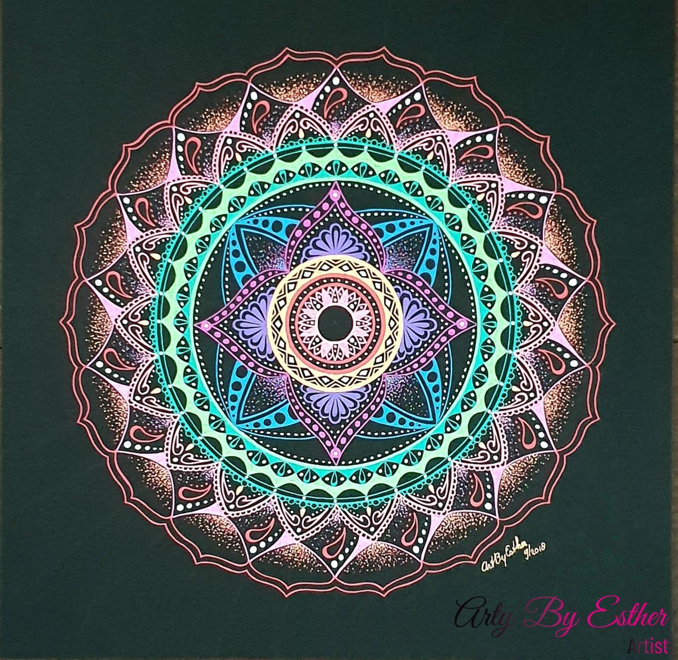 Moonlight Mandala fluor colors