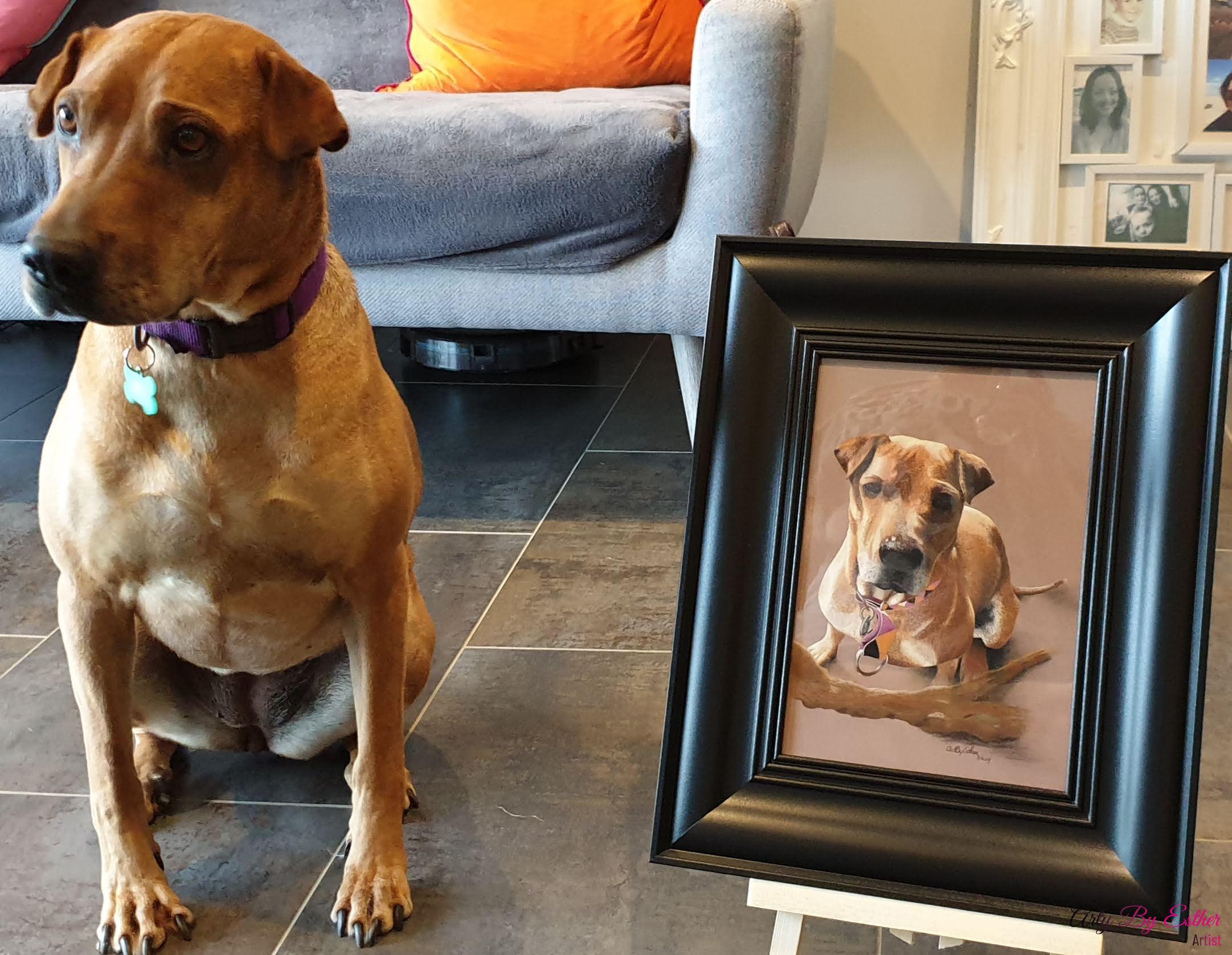 Megan pastelpainting dog