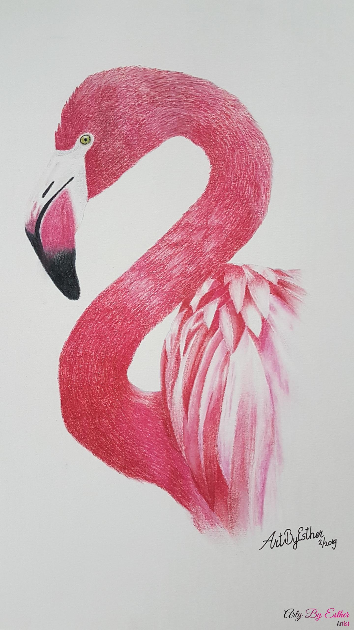 Pink Flamingo Pastelpainting
